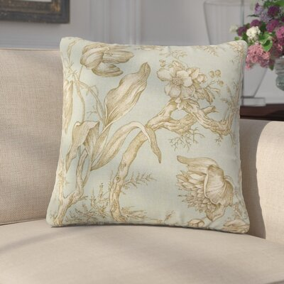 Massima Floral Cotton Throw Pillow Color: Seaglass