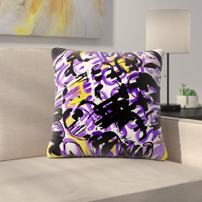 Theodoras Mess by Theresa Giolzetti Outdoor Throw Pillow Color: Yellow/Purple