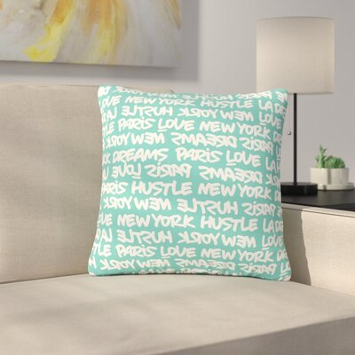 Just L Lux Writing Urban Typography Outdoor Throw Pillow Color: White/Teal, Size: 18 H x 18 W x 5 D