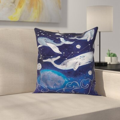 Zodiac Space Universe Planet Square Pillow Cover Size: 16 x 16