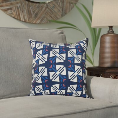 Willa Jodhpur Geometric Print Throw Pillow Size: 18 H x 18 W, Color: Navy Blue