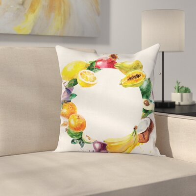 Fruit Food Vegetables Cushion Pillow Cover Size: 24 x 24