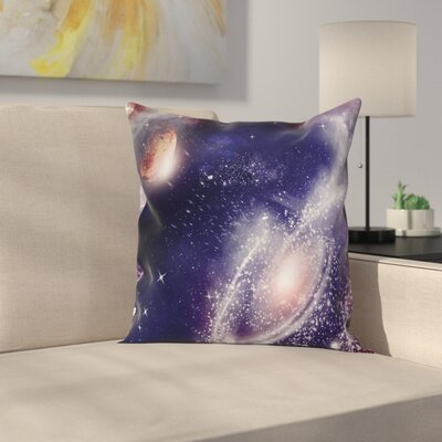 Nebula Planet Cosmic Square Pillow Cover Size: 24 x 24
