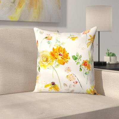 Yellow Floral Throw Pillow Size: 16 x 16