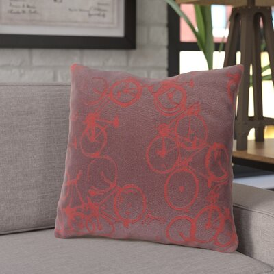 Ellen Bicycle Print Throw Pillow Size: 18 H x 18 W x 4 D, Color: Burgundy / Red, Filler: Down