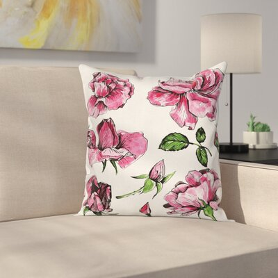 Roses Cushion Pillow Cover Size: 16 x 16