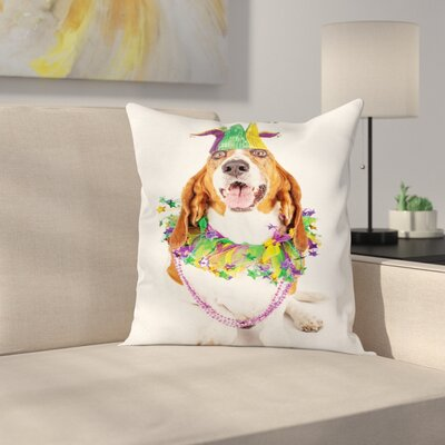 Mardi Gras Happy Dog Jester Hat Square Cushion Pillow Cover Size: 18 x 18