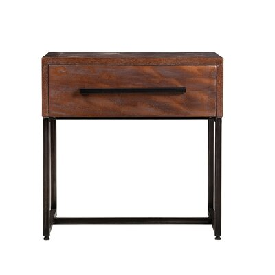 Connersville Herringbone Inlay 1 Drawer Nightstand