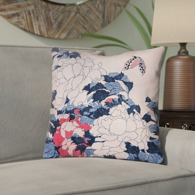 Clair Peonies and Butterfly Square Cotton Throw Pillow Size: 16 H x 16 W, Color: Blue/Pink