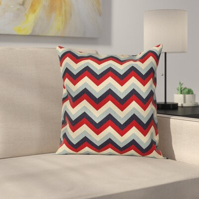 Chevron Retro Abstract Stripes Square Pillow Cover Size: 16 x 16