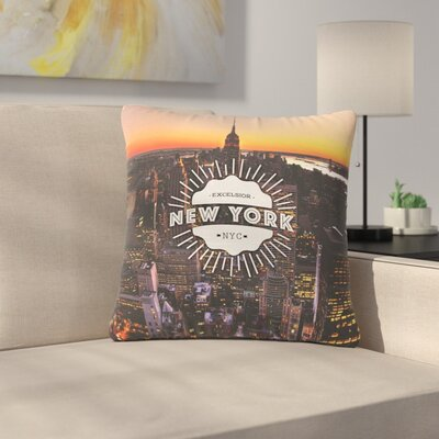 New York Outdoor Throw Pillow Size: 16 H x 16 W x 5 D