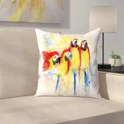4 Red Macaws Throw Pillow Size: 16 x 16