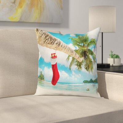 Christmas Beach Xmas Stockings Square Pillow Cover Size: 18 x 18