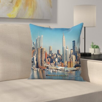 New York Urban City Skyline Cushion Pillow Cover Size: 16 x 16