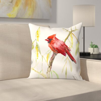 Pink Bird Throw Pillow Size: 16 x 16