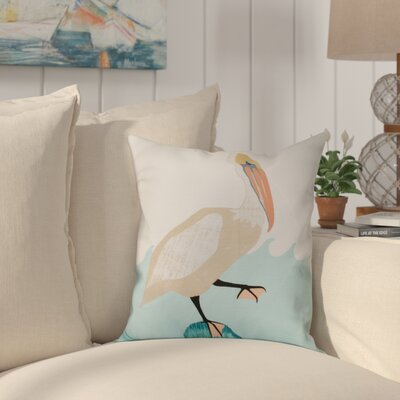 Boubacar Bird Wave Animal Print Throw Pillow Size: 26 H x 26 W, Color: Taupe