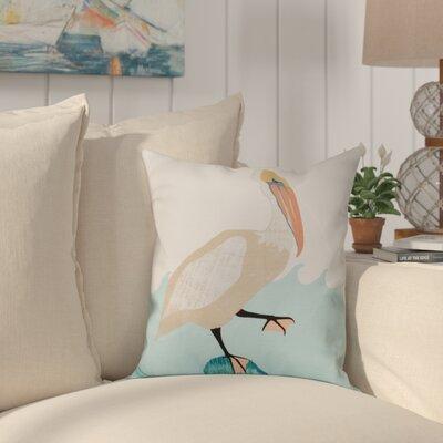 Boubacar Bird Wave Animal Print Throw Pillow Size: 18 H x 18 W, Color: Taupe