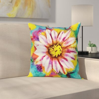 Flower Oil Painting Effect Art Square Pillow Cover Size: 16 x 16