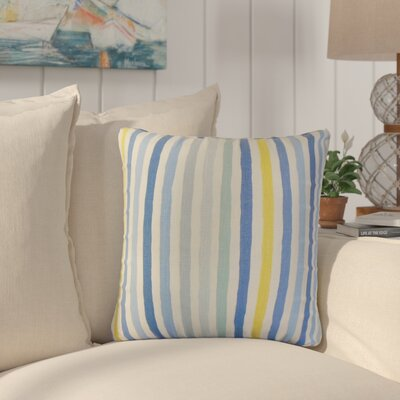 Merganser Stripe Linen Throw Pillow Color: Blue