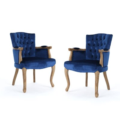 Aguon Upholstered Dining Chair Upholstery Color: Navy Blue
