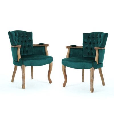 Aguon Upholstered Dining Chair Upholstery Color: Teal