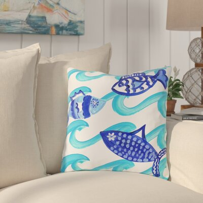 Taylor Blue Fish Throw Pillow Size: 18 H x 18 W x 3 D