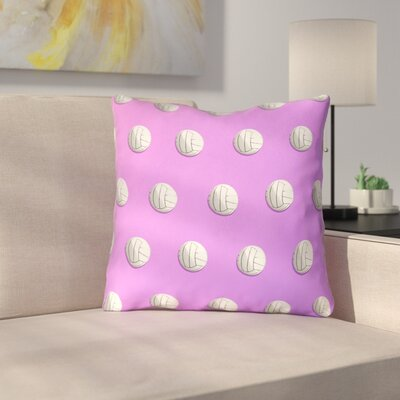 Ombre Volleyball 100% Cotton Throw Pillow Size: 18 x 18, Color: Pink/Purple