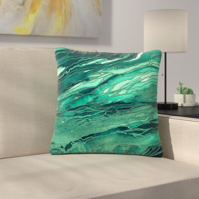 Ebi Emporium Agate Magic Abstract Geological Painting Outdoor Throw Pillow Color: Teal/Green, Size: 18