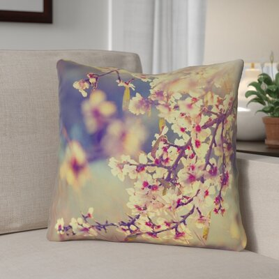 Ghost Train Cherry Blossoms Floral Throw Pillow Size: 16 H x 16 W