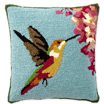 Hummingbird Hooked Indoor/Outdoor Throw Pillow