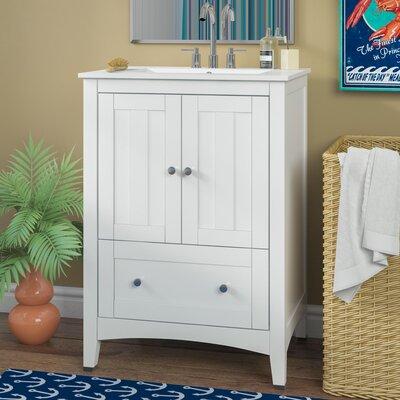 Artic 24 Plywood-veneer Single Bathroom Vanity Set Base Finish: White, Faucet Mount: 8 Centers