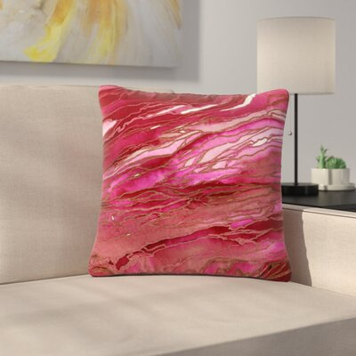 Ebi Emporium Agate Magic Abstract Geological Painting Outdoor Throw Pillow Color: Pink/Red, Size: 18