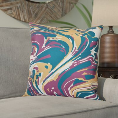Willa Marble Blend Geometric Outdoor Throw Pillow Size: 20 H x 20 W, Color: Purple