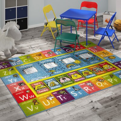 Weranna ABC Seasons Months and Days of the Week Educational Learning Blue/Yellow Indoor/Outdoor Area Rug Rug Size: 5 x 66