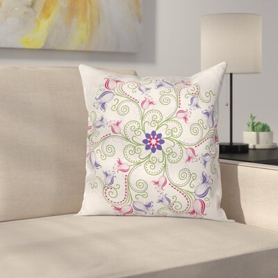 Purple Mandala Classical Tulip Square Pillow Cover Size: 18 x 18