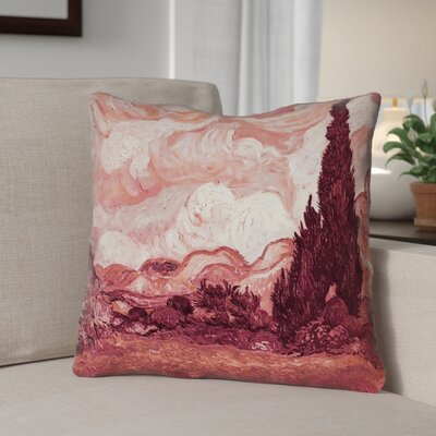 Lapine Wheatfield with Cypresses Linen Throw Pillow Color: Red, Size: 26 x 26