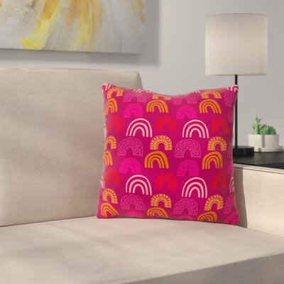 Its All Rainbow by Jane Smith Throw Pillow Size: 26 H x 26 W