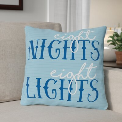 Eight Nights Eight Lights Throw Pillow Size: 16 x 16