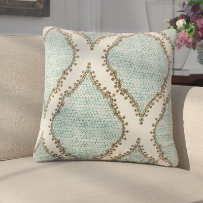 Ilario Ikat Cotton Throw Pillow Color: Peacock