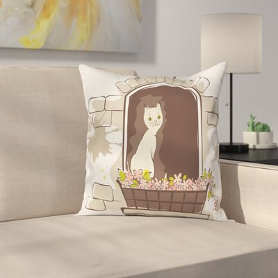 Cartoon Pet Cat Square Pillow Cover Size: 24 x 24