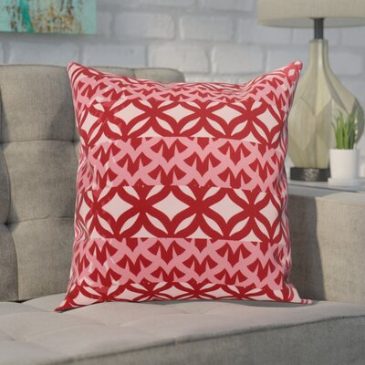 Carmean Throw Pillow Color: Red, Size: 18 x 18