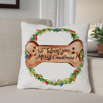 Woof You Bone Throw Pillow Size: 16
