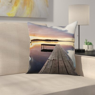 Rustic Pier Sunset Lake Square Pillow Cover Size: 24 x 24