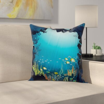Tropical Fishes and Reefs Square Pillow Cover Size: 18 x 18
