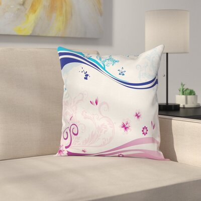 Modern Floral Graphic Pillow Cover Size: 18 x 18