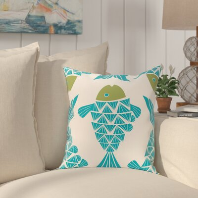 Grand Ridge Big Fish Coastal Throw Pillow Size: 20 H x 20 W, Color: Turquoise
