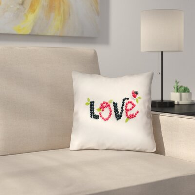 Buoi Love and Berries Double Sided Print Indoor Throw Pillow Size: 14 x 14