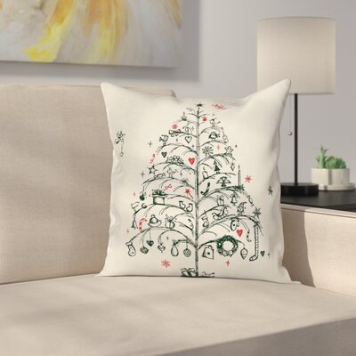 Christmas Tree and Fairies Square Pillow Cover Size: 16 x 16