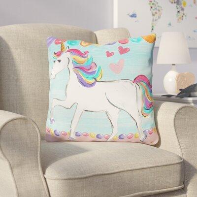 Balmer Unicorn Throw Pillow Size: 16 x 16