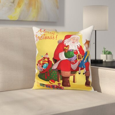 Christmas Kid and Santa Gifts Square Pillow Cover Size: 18 x 18